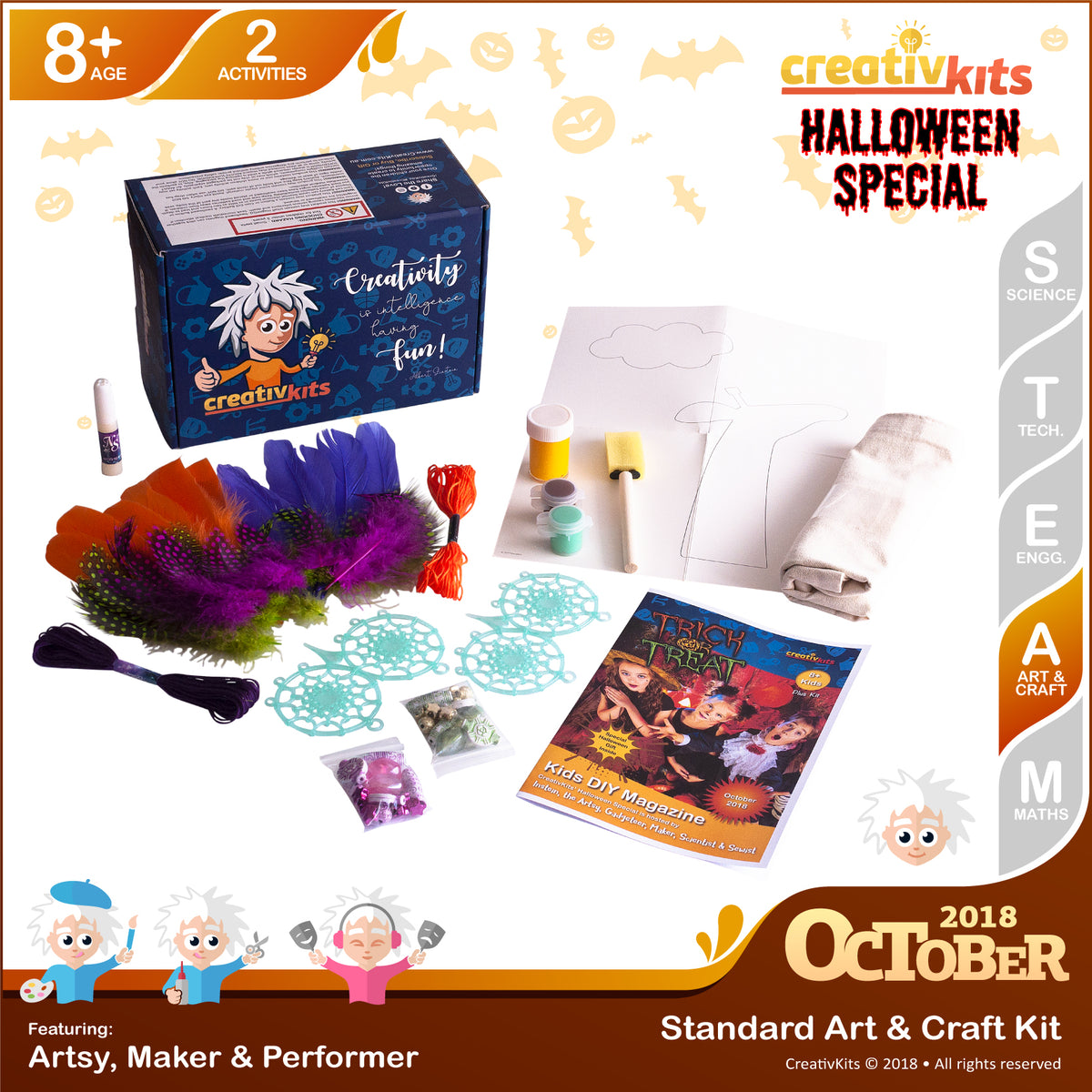 DIY Trick or Treat Bags and Making Dream Catchers | October Standard Art and Craft Kit | Age 8+