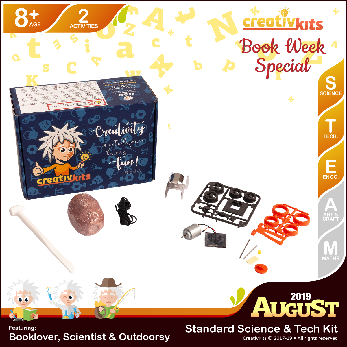 August Standard Science & Tech. Kit • Age 8 plus • BYO Solar Metal Racer and Shark Tooth Fossil