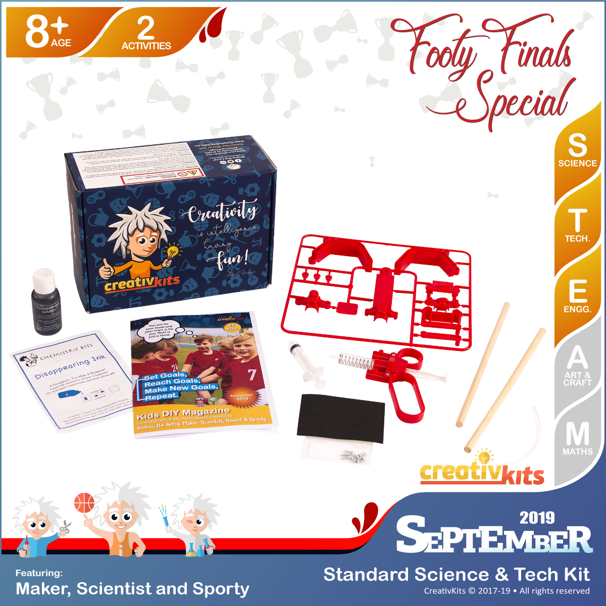 September Standard Science & Tech. Kit • Age 8 plus • BYO Hydraulic Arm and Disappearing Spy Ink
