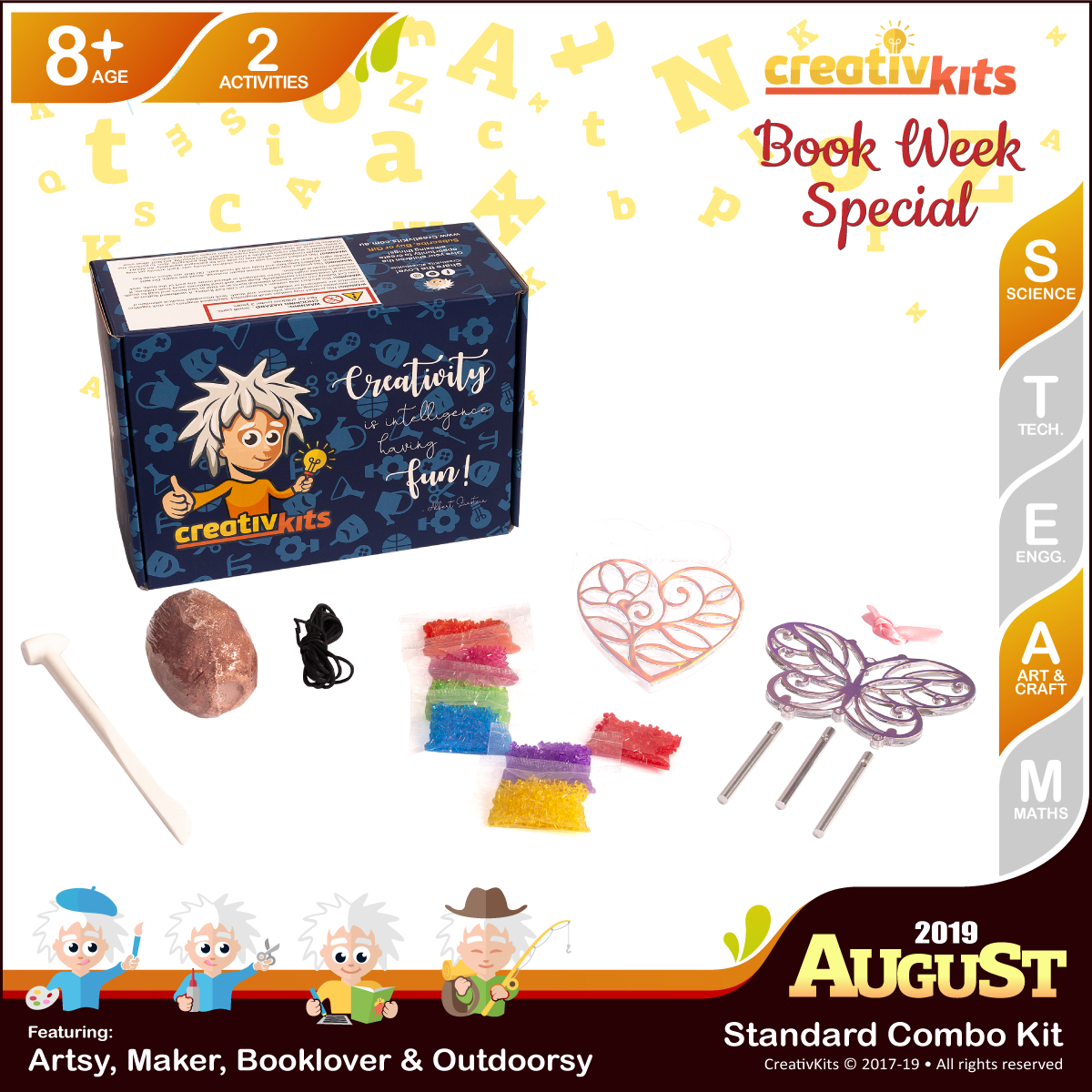 August Standard Combo Kit • Age 8 plus • MYO Wind Chime & Trinket Box and Shark Tooth Fossil