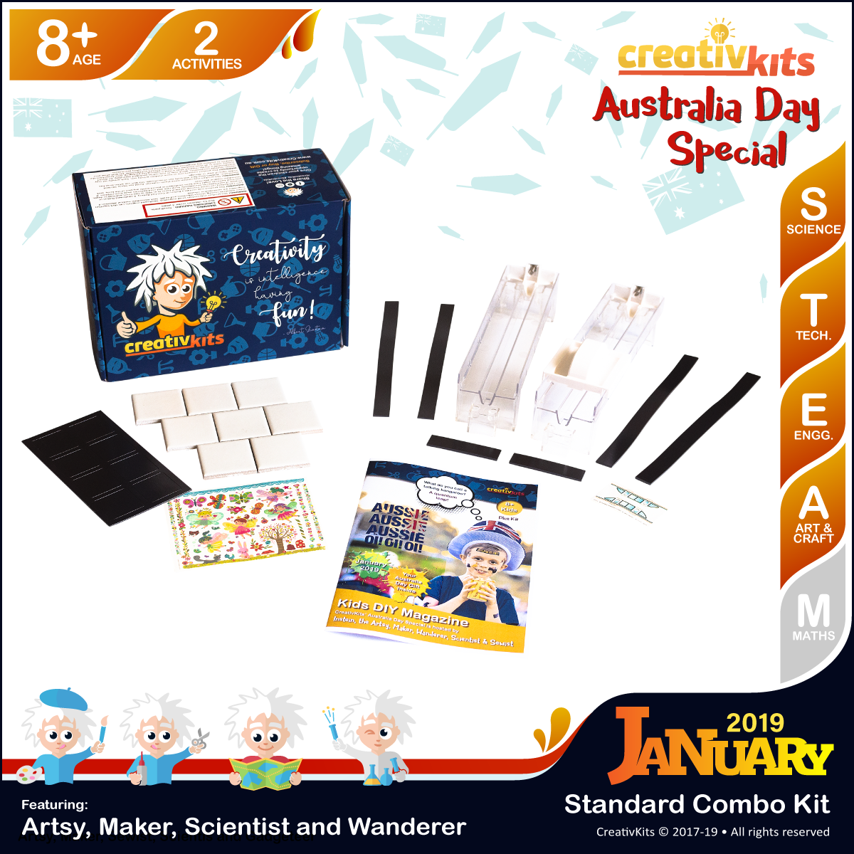 January Standard Combo Kit • Age 8 plus • Magic Transfer Fridge Magnets & Making Maglev Train Model