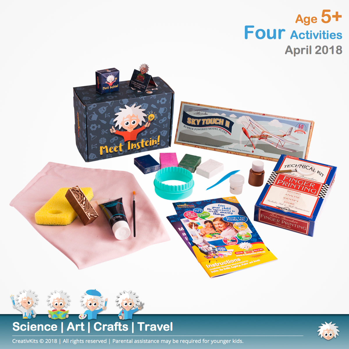 Block Cushions, Rbr Powered Plane, Marble Coasters & Fingerprint Analysis | April Plus Kit | Age 5+