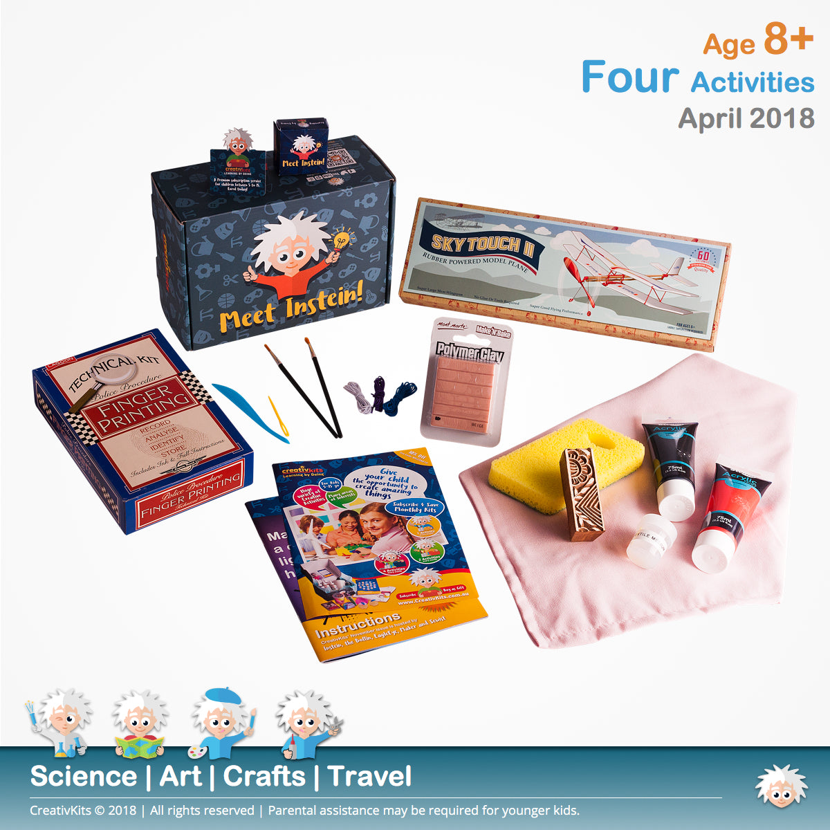 Block Cushions, Rubber Power Plane, Damask Pendants & Fingerprint Analysis | April Plus Kit | Age 8+