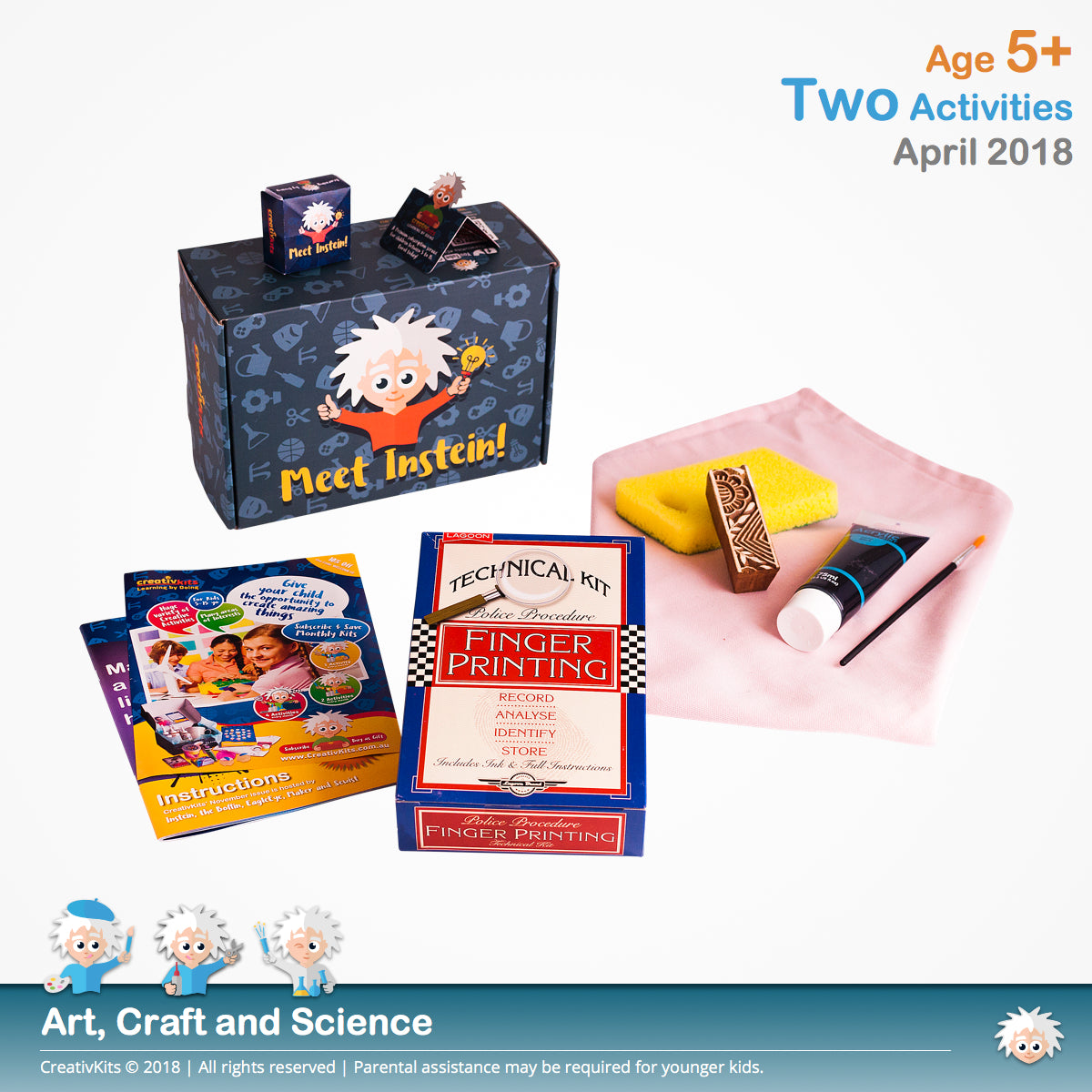 DIY Block Printed Cushion Covers and Fingerprint Investigation and Analysis | April Standard Art and Science Combination Kit | Age 5+
