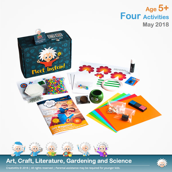 Light Up & Pop Up Flower Circuit Card, Grow Your Own Grass Hair, Create Your Hama Beads Mini-bookmarks and DIY Fingerprint Glass Magnets | May Plus Kit | Age 5+