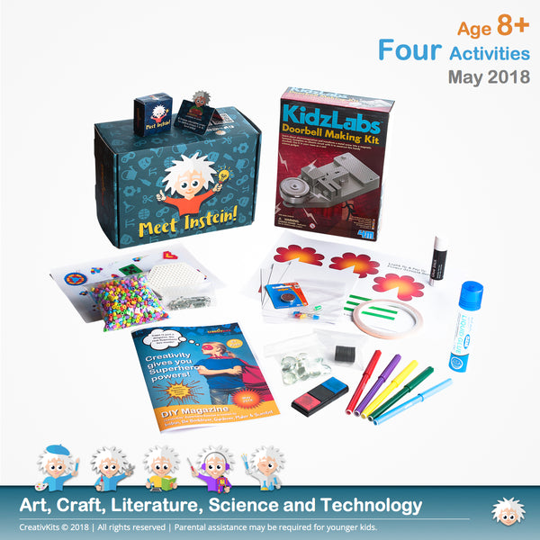 Light Up & Pop Up Flower Circuit Card, Make your own Electronic Doorbell, Create your Hama beads Mini-bookmarks and DIY Fingerprint Glass Magnets | May Plus Kit | Age 8+