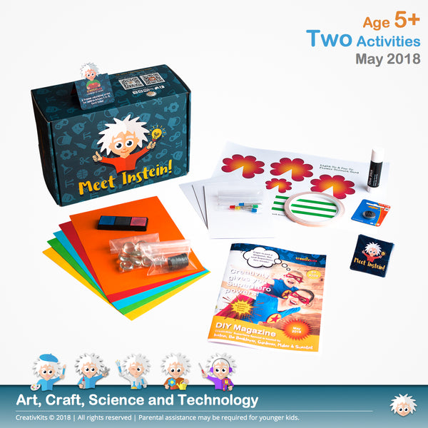 Flower Circuit Card and Fingerprint Glass Magnets | May Standard Art and Sci. Combo Kit | Age 5+