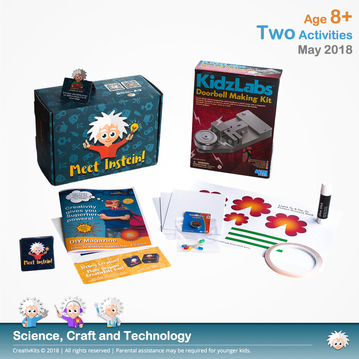 Light Up Flower Circuit Card and Electronic Doorbell | May Standard Sci. and Tech. Kit | Age 8+