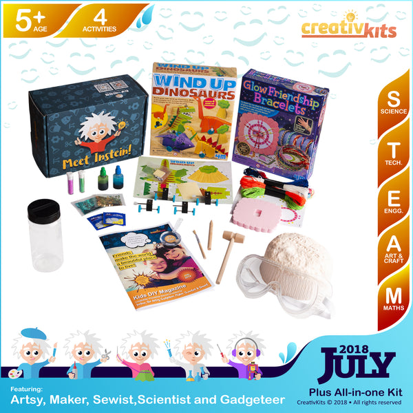 Friendship Bracelets, Dinosaurs Racing Set, Treasure Geodes and Lava Lamp | July Plus Kit | Age 5+