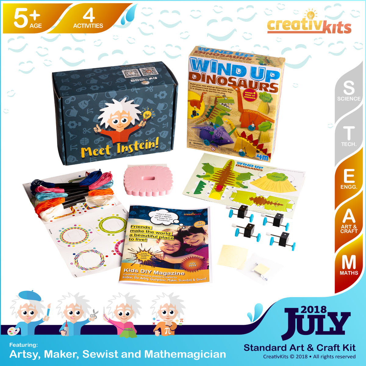 Glow Friendship Bracelets and Wind-up Dinosaurs Racing Set | July Art and Craft Kit | Age 5+
