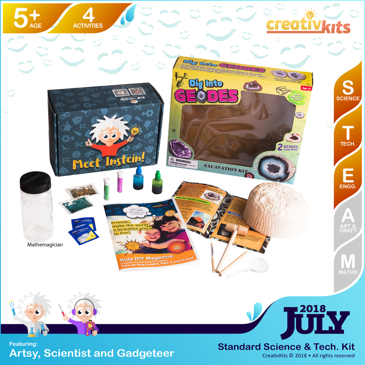 Dig-up Treasure Geodes and DIY Spectacular Lava Lamp | July Standard Science & Tech Kit | Age 5+