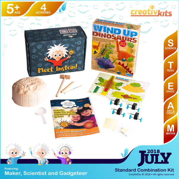 Wind-up Dinosaurs Racing Set and Dig-up Treasure Geodes | July Art and Science Combination Kit | Age 5+