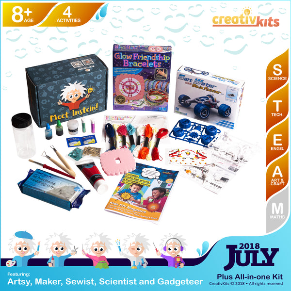 Glow Friendship Bracelets, Salt-water Baja Runner, Spectacular Lava Lamp and Ceramic Hand Dish | July Plus Kit | Age 8+