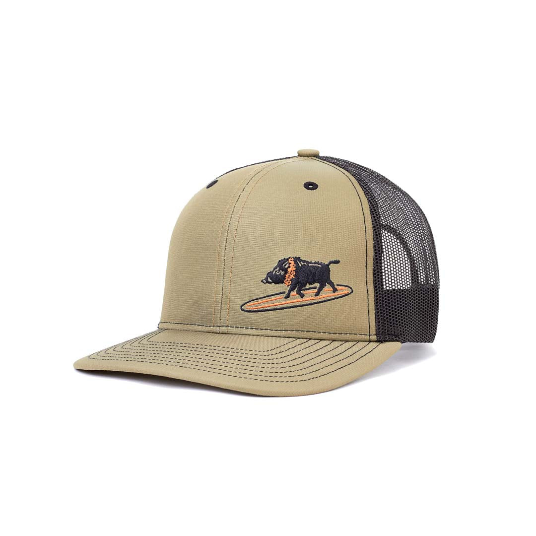 Embroidered Surfing Boar Snapback Olive