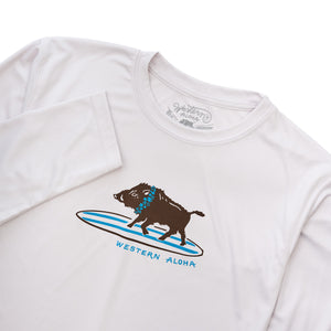YOUTH SURFING BOAR PERFORMANCE TEE - PEARL GRAY