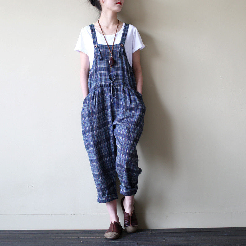 2016 New Women spring Plaid Vintage Calf-length Jumpsuits Carrot Pants