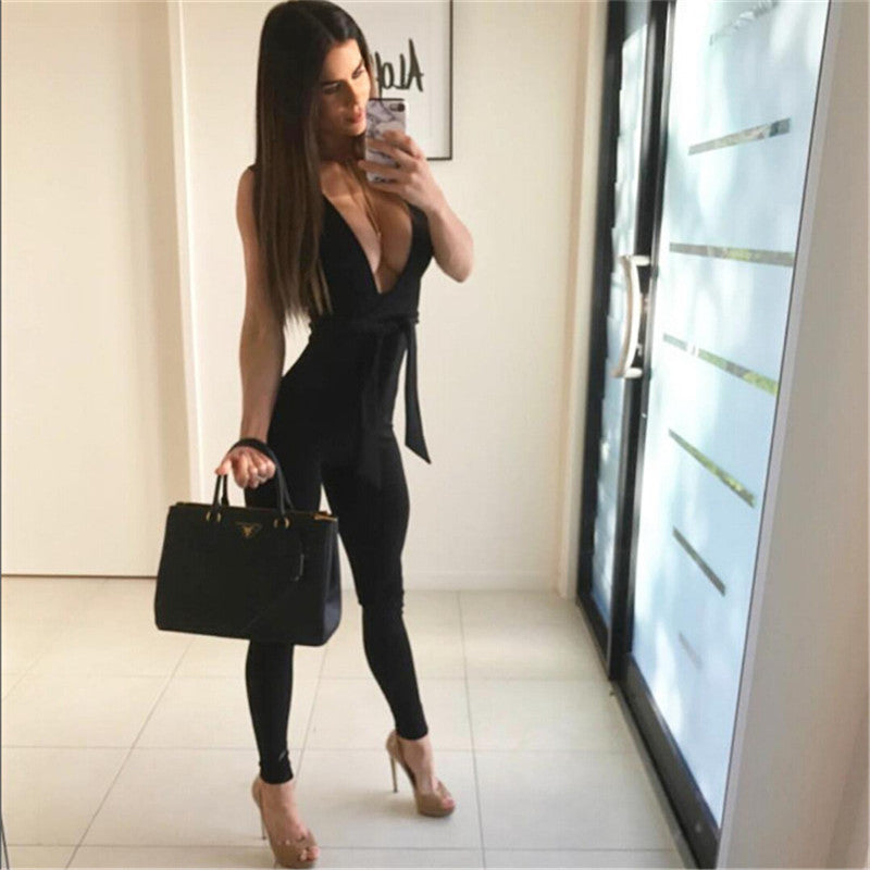 2016 new trend overall women jumpsuits bodycon rompers deep v neck