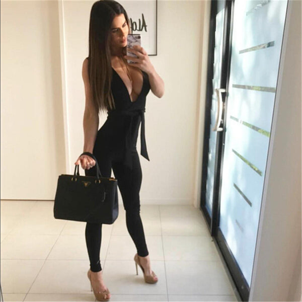 2016 new trend overall women jumpsuits bodycon rompers deep v neck slim sexy bandage jumpsuits drop shipping