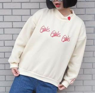 2016 Winter Casual Loose Embroidered Letter Red Heart Fashion All