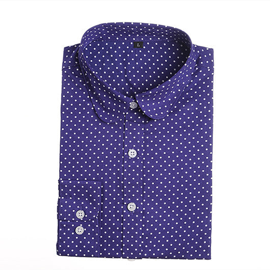 2016 Plus Size Polka Dot Cotton Women Blouses Shirts Long Sleeve Women
