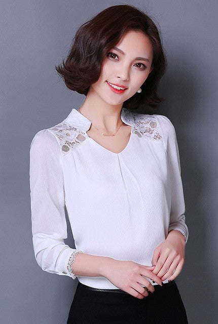 2016 new Spring summer Women Blouses Lace Plus Size Casual shirts