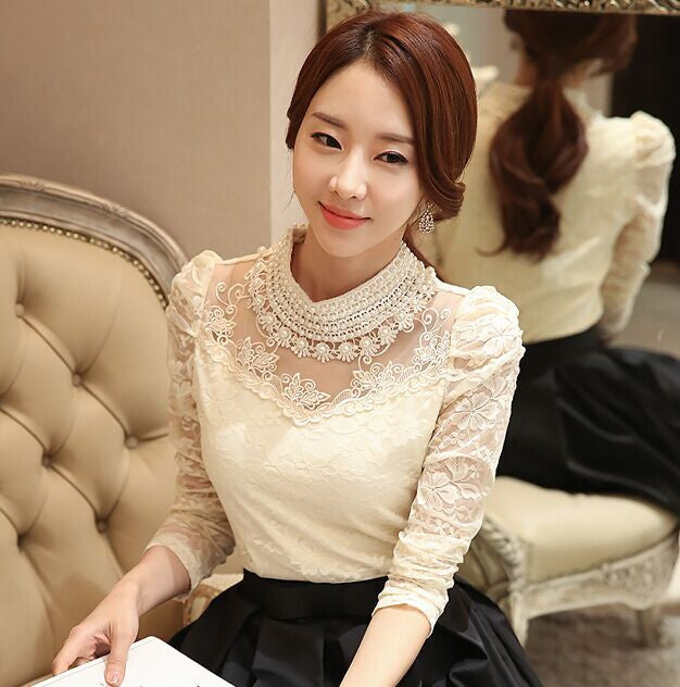 2016 New fashion Plus size Women's Shirts Stand Pearl Collar Lace