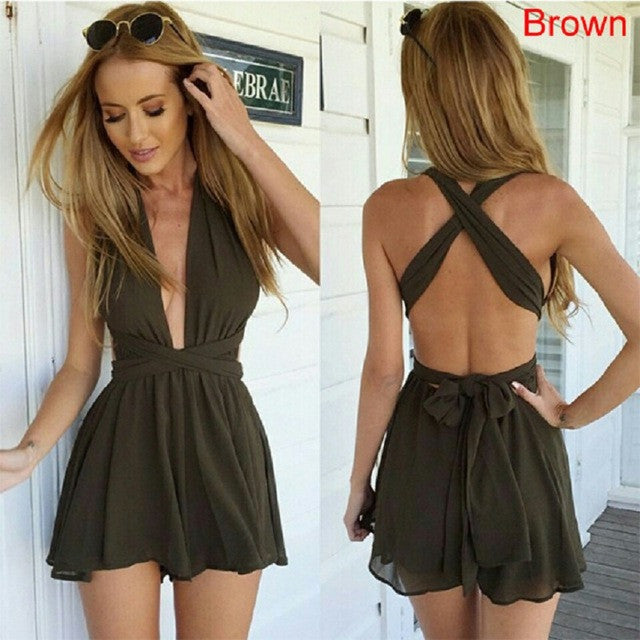2016 Trend Short Sleeve Deep V Neck Rompers Kaywide Elegant Cross