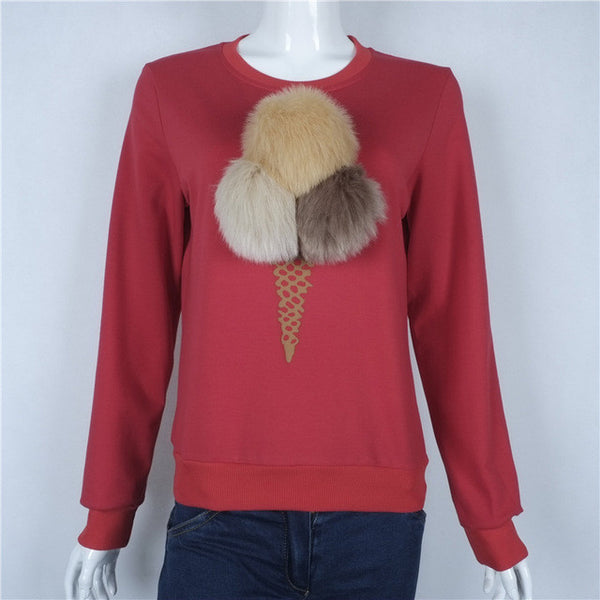 2016 Autumn Winter European Station Hot Sale Ice Cream Wool Ball Printing Long-sleeved Three-dimensional Decoration Tops