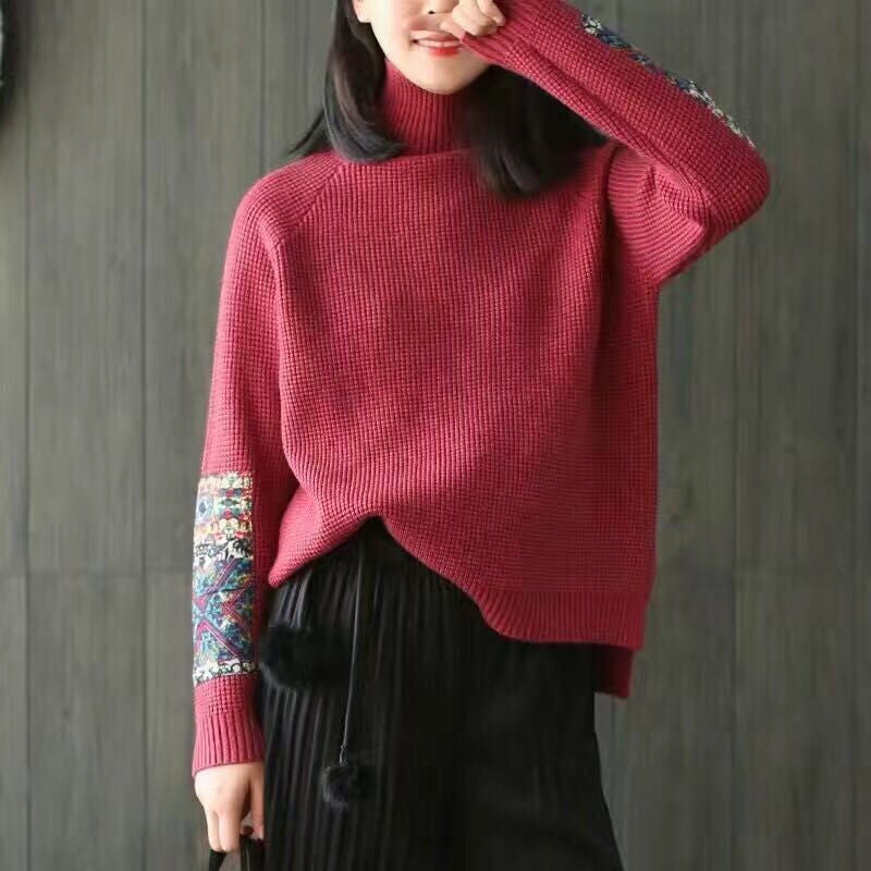 2016 Vintage Flower Patches Knitted Women Sweater And Pullovers Autumn