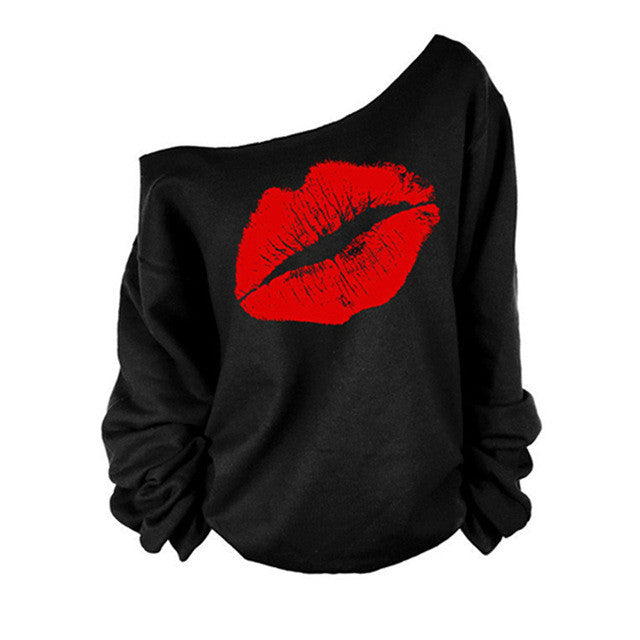 2016 New Spring sexy women's Red Big Lips Print sweatshirt Long Sleeve