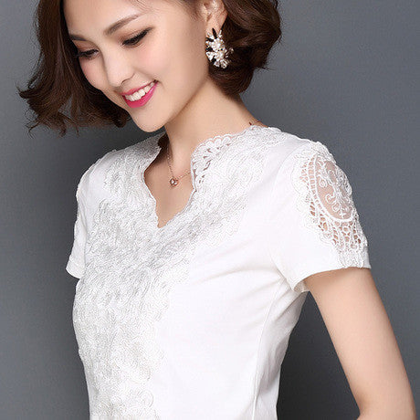 2017 Fashion Summer Style Blusa White Lace Cotton Blouse Elegant Women