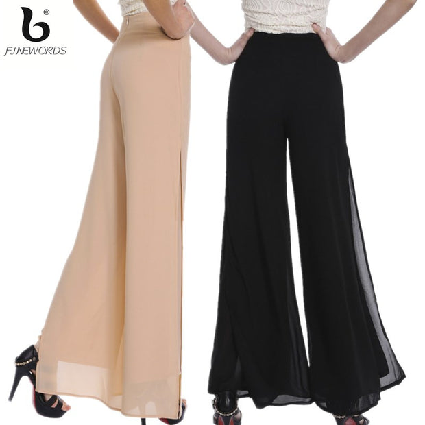 FINEWORDS Autumn Double Chiffon Wide Leg Pants Women Vintage Loose