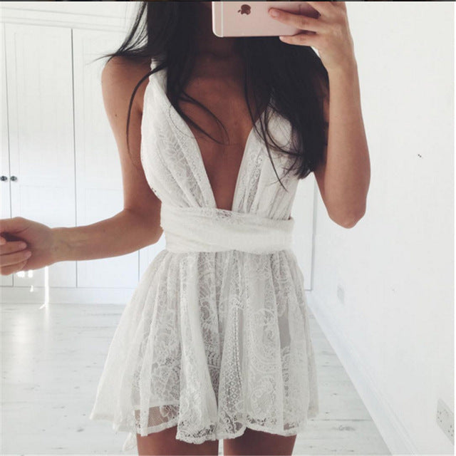 2016 New Womens' Lace Jumpsuit Deep V-neck Playsuit  Sexy White Romper