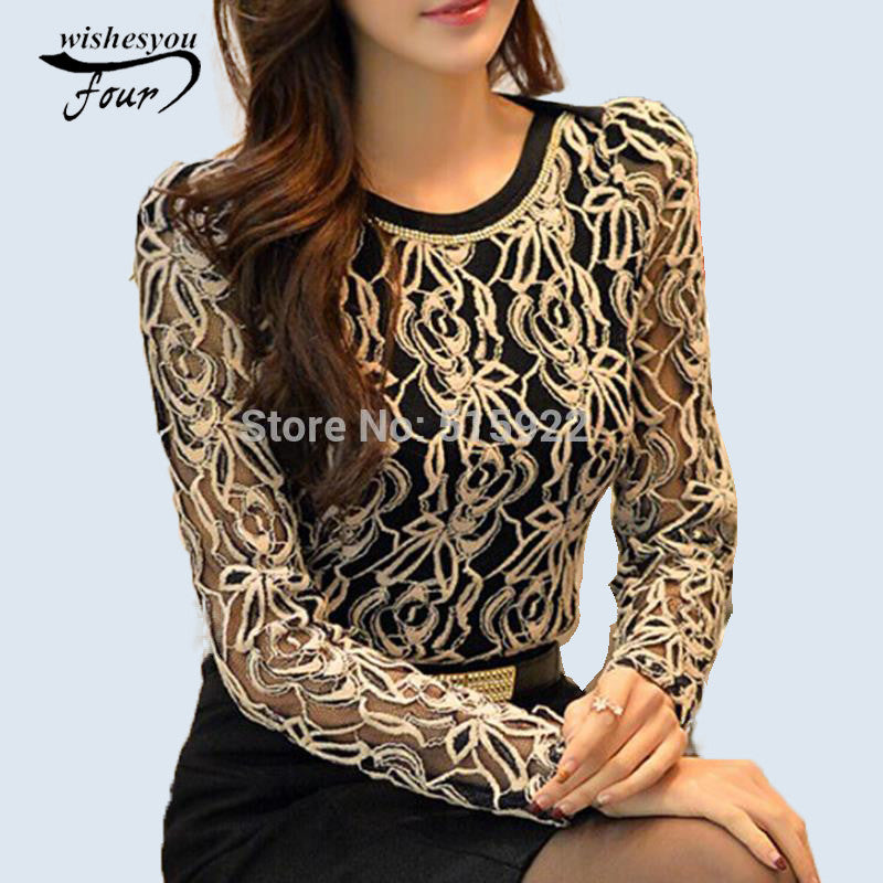 2017 Fashion Plus Size Long Sleeve Crochet Black And White Body Lace