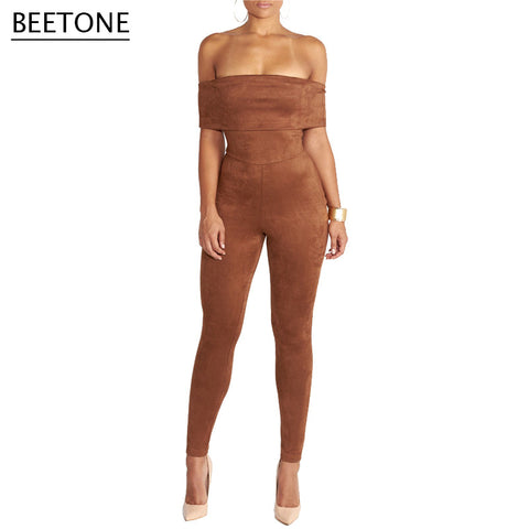 Beetone New Arrival  Suede Bodysuit Women Jumpsuit Sexy Stretch Strapless Slash Overalls Skinny Party Bodycon Tube Top Rompers