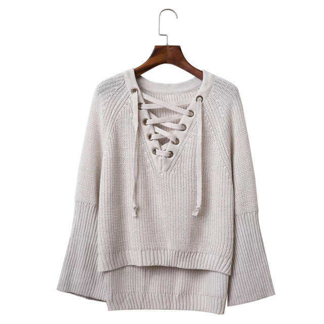 2017 autumn flare sleeve knitted pullover women sweaters and pullovers