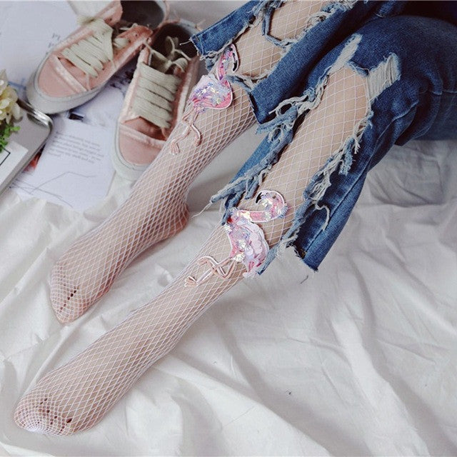1PC Summer Fashion Sexy Women Mesh Fishnet Tights Stockings Embroidery