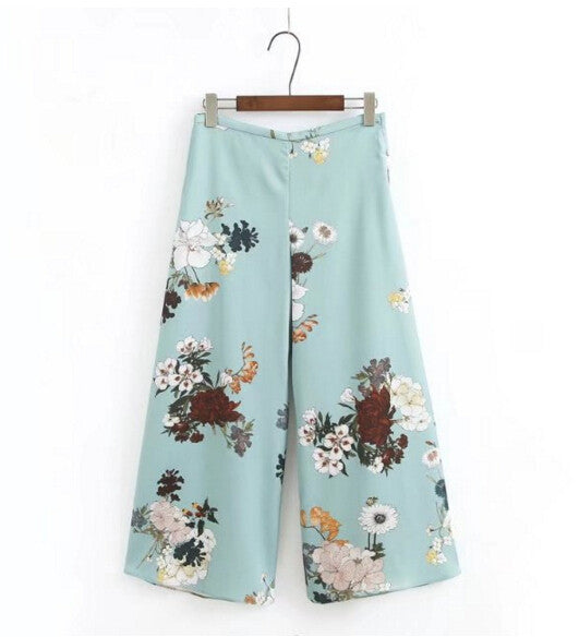 2017 Ethnic Floral print Wide Leg Pants Woman Vintage High waist Ankle