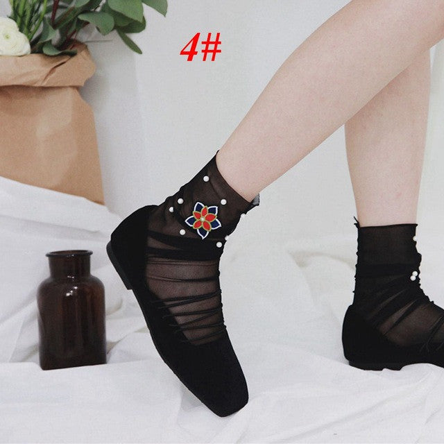 1Pair Fashion Summer Spring Women Girls Rose Heart Embroider Pearl