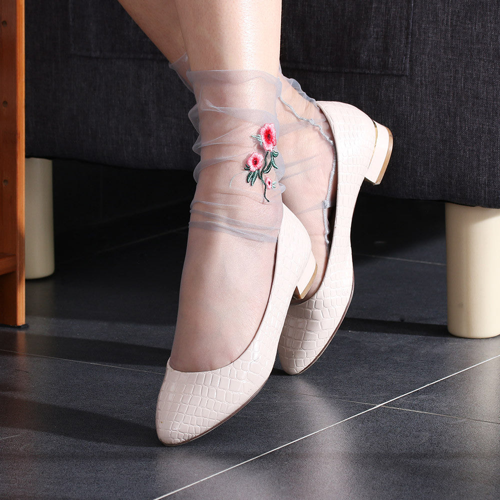 1Pair Sexy Women Ultrathin Sheer Embroider Rose Flowers Fishnet