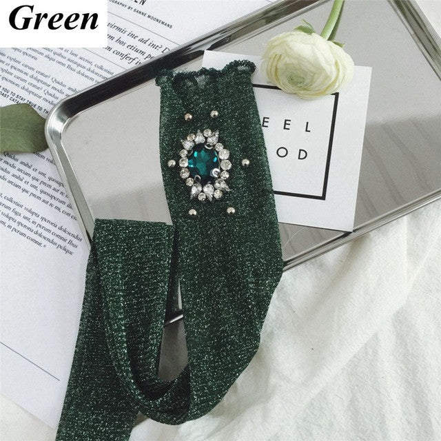 1Pair Fashion Women Lady Solid Color Breathable Shiny Rhinestone