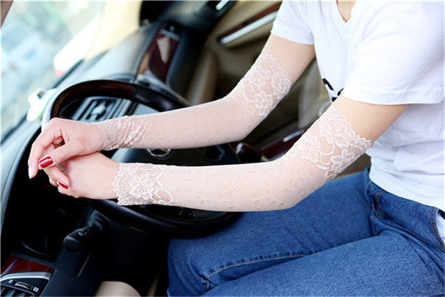 38CM Summer UV Protection Arm Sleeves Women Sexy Black Lace Floral