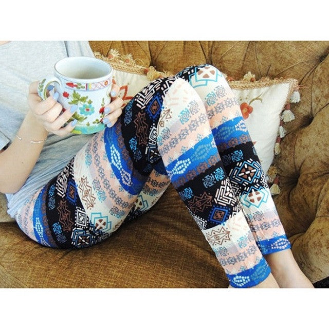 2017 Ethnic Style 3D Geometric Print Women Leggings Contrast Color