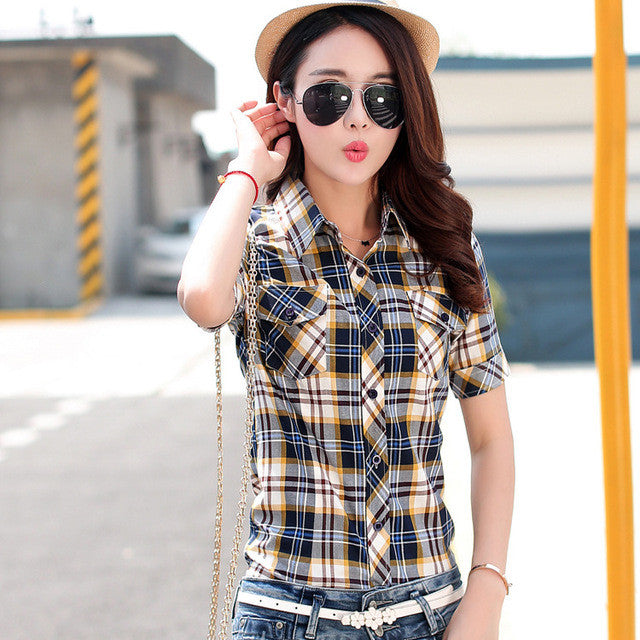 2017 Fashion Women's Cotton Plaid Short Sleeve Plus Size Women