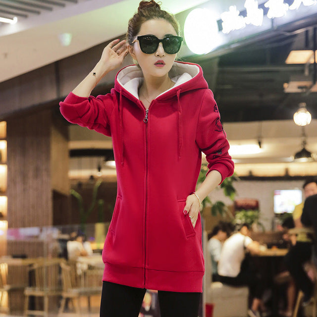 2017 Autumn Winter Tracksuit For Women Hoody Jacket Thicken Plus