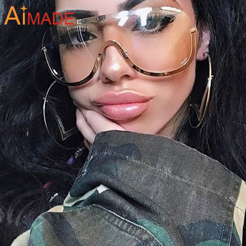 Aimade Fashion Oversized Gradient Sunglasses Women Vintage One Piece Lens Goggle Eye Glasses Frame For Female Optical Eyeglasses