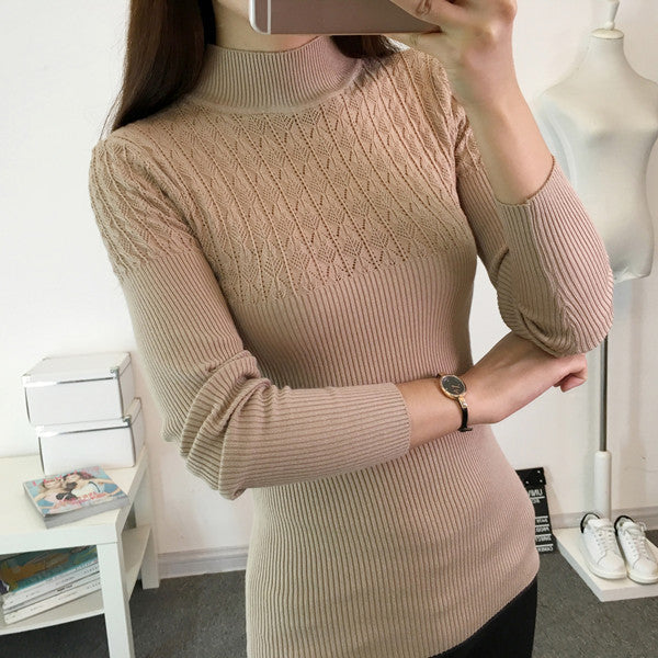 2017 Autumn Winter Women Sweaters and Pullovers Turtleneck Hollow