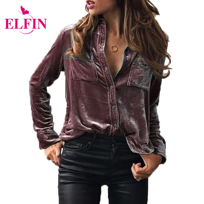 Fashion Women Blouse Shirt Long Sleeve Velvet Shirt Button Turn Down
