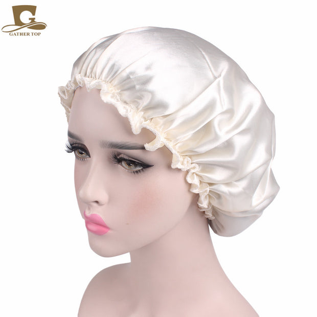 New Women Beauty Salon Cap Night Sleep Cap Head Cover Satin Bonnet Hat