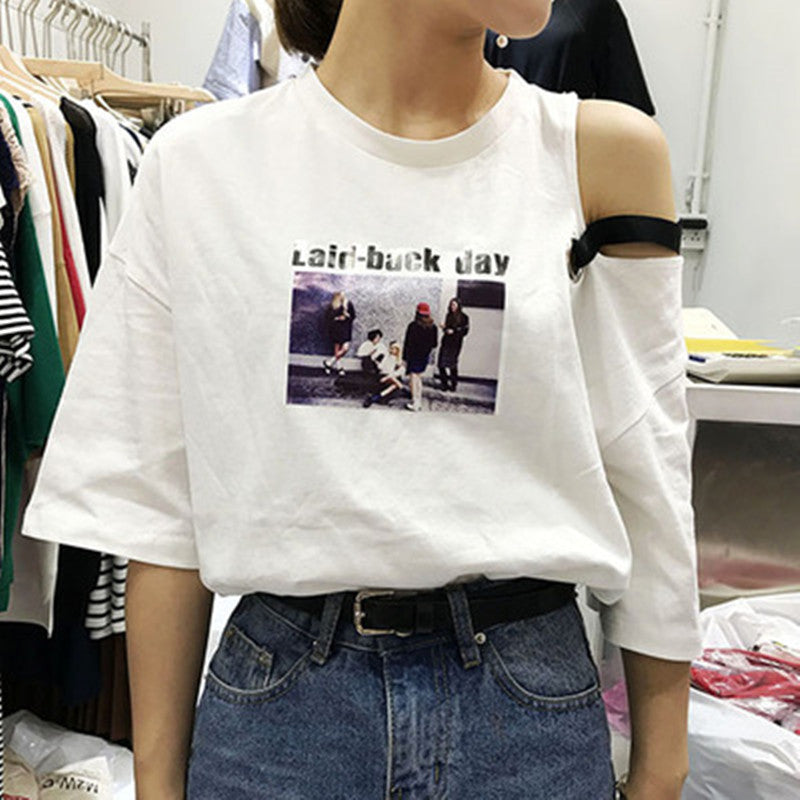 2 colors 2017 summer tops korean style o neck letter cartoon print tee